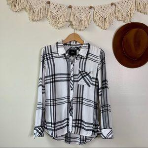 Rails Plaid Shirt in White Black + Charcoal